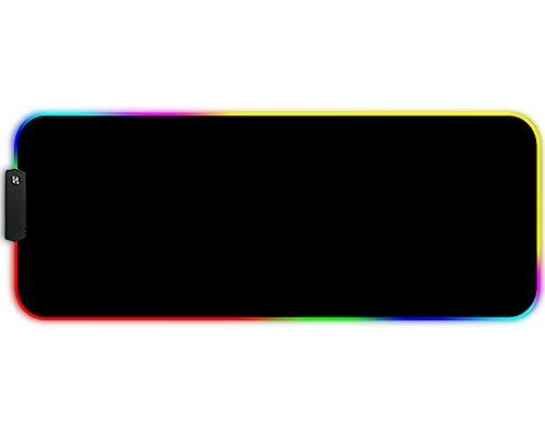 FORRICA RGB Gaming Mauspads 900x400x3 mm XXL Große Mousepad Fransenfreie Ränder Wasserdicht Tischunterlage Matte Office Rutschfest Gaming Mousepad Schwarz