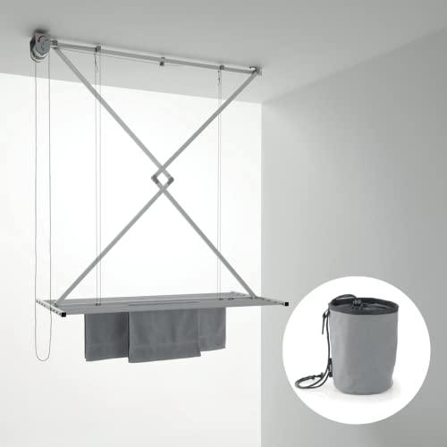 Foxydry Mini Tendedero de techo manual, tendedero vertical plegable de aluminio y acero con Peggy Bag, bolsa porta pollitas, con 16 pinzas antiviento (120 cm + Peggy Bag)
