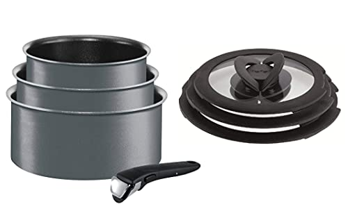 Tefal Ingenio Non-Stick Induction Performance Saucepan Set with Lids, 7 Pieces, Grey