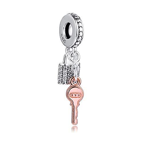 Candado y llave colgante de plata de ley 925, compatible con pulseras Pandora originales