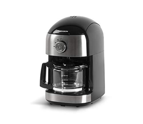 Thomson THCOG6 - Cafetera de goteo con molinillo integrado y cafetera de filtro para café fresco, 500 ml, aprox. 6 tazas con función de conservación de calor, color negro