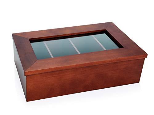 Gastro Spirit - Tee-Box/Tee-Kiste aus Holz (dunkel) - 12 Fächer, 31 x 28,5 cm, mit Sichtfenster, ohne Aufschrift, Aufbewahrung für Teebeutel, Gastronomie-Qualität