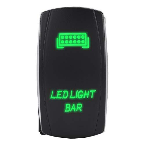 Interruptor basculante de Barra de luz LED, 1 uds.Interruptor basculante Impermeable de 12 V 24 V SPST ON-Off, Interruptor basculante de 5 Pines para Coche, Barco, camión, Motocicleta(Luz Verde)