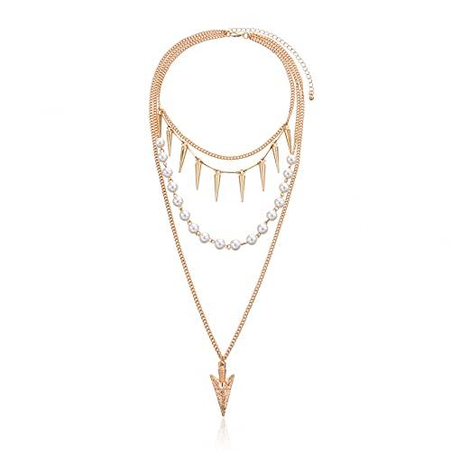 Collar Colgante Collar con colgante de flecha larga con personalidad de joyería collar de cono geométrico punk multicapa de perlas femeninas Collar amistad Aniversario San Valentín Regalo