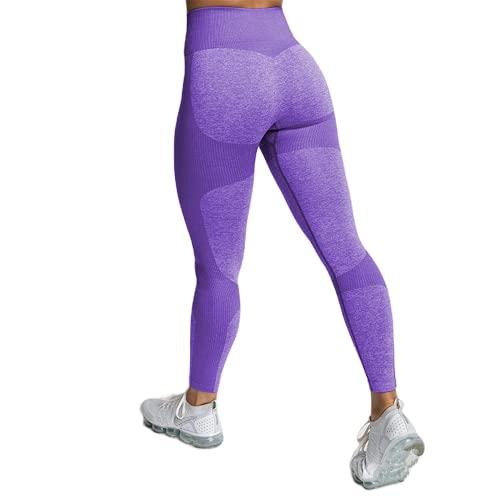 Pantalones de Yoga sin Costuras de energía Femenina sin Costuras, Pantalones de Ejercicio Push-up para Gimnasio, Pantalones de Yoga con Levantamiento de Cadera y Cintura Alta G L