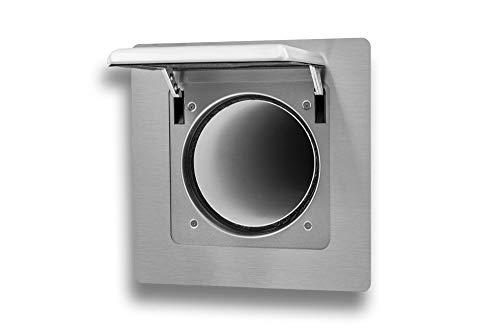 Witte muurkist buitenklep automatisch voor afzuigkap uitvoering inbouw roestvrij staal