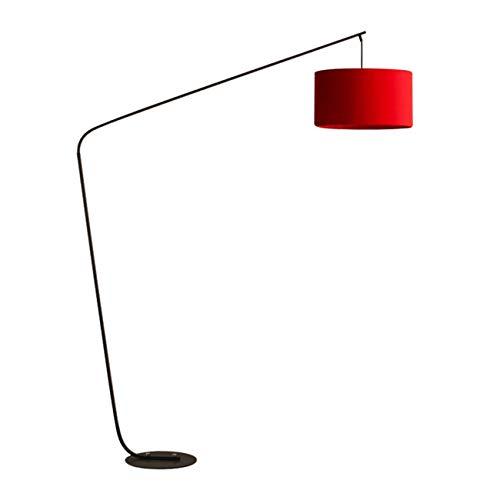WYHYQY Arco Lámpara de pie en Rojo con Sombra, Global Moderno Loft-Estilo de iluminación, Pantalla de Tela roja, luz cálida 5W, Sala de Estar Lámpara de pie con Las Bombillas