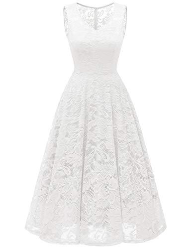 Meetjen Damen Elegant Spitzenkleid V-Ausschnitt Unregelmässig Vokuhila Kleid Festlich Cocktail Abendkleid Midi White L