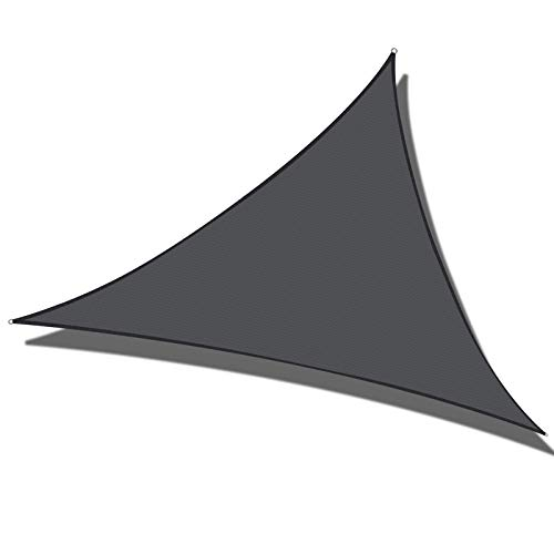 Cool Area 16'5' x 16'5' x 16'5' Triangle Sun Shade Sail for Patio Garden Outdoor, UV Block Canopy Awning, Graphite