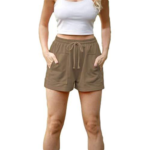 Pantalones Cortos Holgados de Pierna Ancha de Cintura Alta para Mujer Pantalones Cortos Informales de Verano con cordón Ajustable de Color sólido con Bolsillos XX-Large