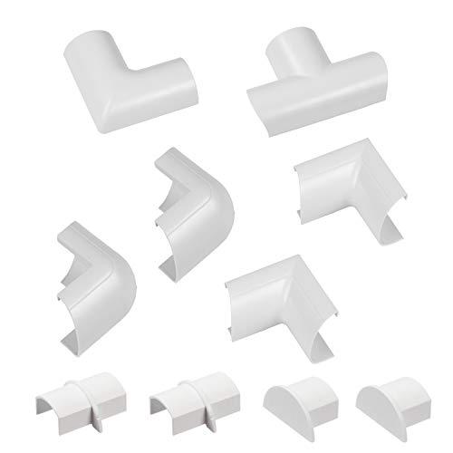 D-Line Mini Kabelkanal Clip-Over Verbindungsstücke Multipack | Aufsteckbare Verbindungsstücke  | Verbinden Sie mehrere 30x15mm Kabelkanäle | 10-teiliges Kabelkanal Zubehör Set - Weiß