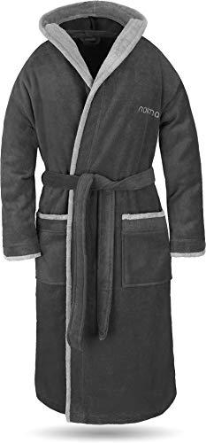 normani® Baumwoll Bademantel mit Kapuze in weicher Premium Qualität mit Öko Tex 100 für Damen und Herren Farbe Schwarz/Grau Größe XL