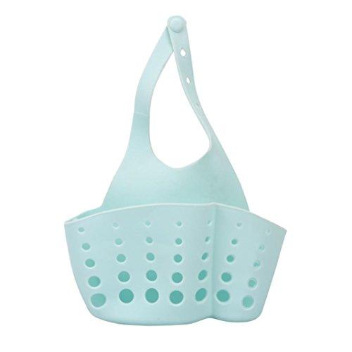 Drain Panier, Hunpta Portable Maison de cuisine à suspendre Sac de vidange Panier de bain de stockage outils évier support bleu