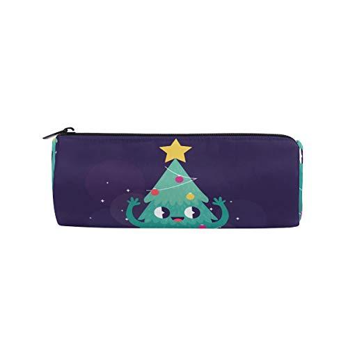 Bonipe Federmäppchen mit süßem Cartoon-Weihnachtsbaum, Smiley-Stern, für Schule, Schreibwaren, Stiftebox, Reißverschluss
