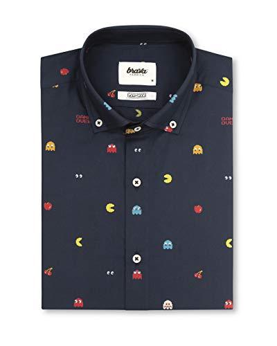 Brava Fabrics - Camisa Hombre - Camisa de Algodón Orgánico Hombre - 100% Algodón Orgánico - Pac-Man™ x Brava