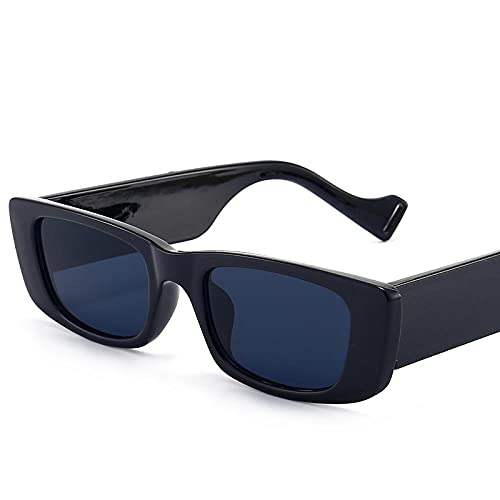 Gafas de sol cuadradas retro para hombre y mujer, gafas de sol de tendencia europeas y americanas, caja negra, gris
