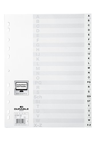 DURABLE Hunke & Jochheim Register, PP, A - Z, weiß, DIN A4, 215/230 x 297 mm, 24 Blatt