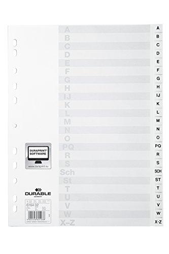 Durable Hunke & Jochheim Register, PP, A - Z, DIN A4, volldeckend, 215/230 x 297 mm, 24 Blatt (10, Weiß)
