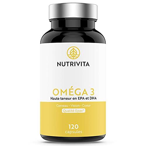 Omega 3 Epax Olio di Pesce 2000 mg | Alta Concentrazione di EPA e DHA | Salute Cardiovascolare | 120 Capsule Softgel Senza Ritorno di Gusto | Prodotto In Francia | Nutrivita