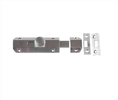 Jedo 100mm (4') Heavy Duty Sliding Surface Door Lock Bolt for Internal Latch Doors and External Doors and Windows (Satin Nickel)
