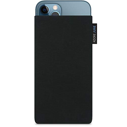 Adore June Classic Schwarz Tasche kompatibel mit iPhone 13 Pro Max/iPhone 12 Pro Max Handytasche aus beständigem Cordura Stoff mit Bildschirm Reinigungs-Effekt, Made in Europe