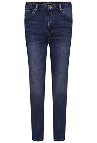 Toxik3 Damen Skinny Jeans High Waist Washed Denim Skinny Jeans - Mid Blue L185-J39 Gr. 34, mittelblau