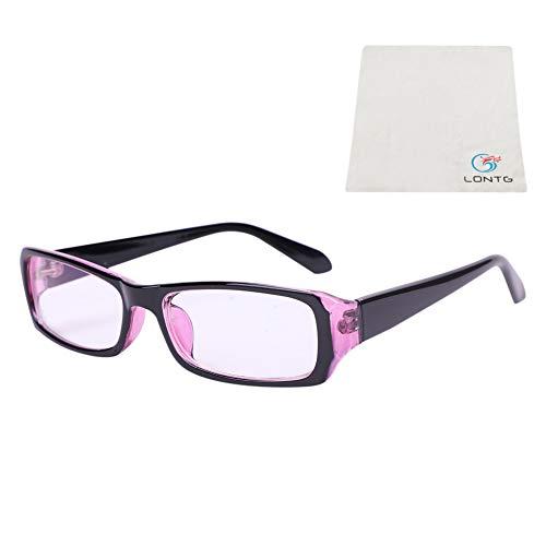 Brille ohne sehstärke Damen Herren Brillenfassung mit Schmal Rahmen Strahlenschutz UV Schutz Glasses Kurzsichtigkeit Computer Schutzbrille Studenten Jugendliche Nerdbrille mit Brillenetui