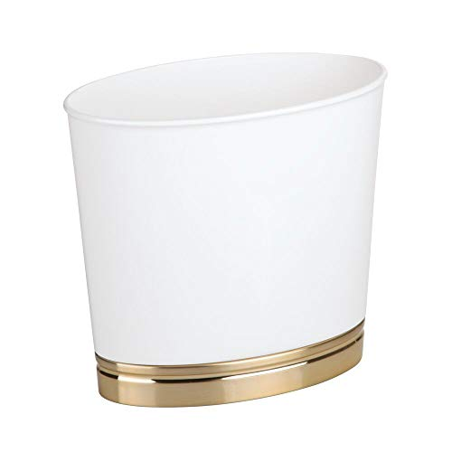 mDesign Oval Slim Decorative Plastic Small Trash Can Wastebasket, Garbage Container Bin for Bathrooms, Kitchens, Home Offices, Dorm Rooms - White/Soft Brass