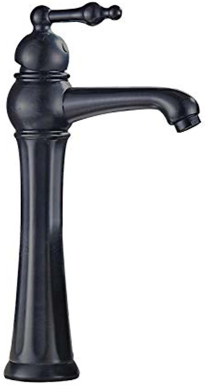 Copper European Antique Single Hole Basin Faucet Bathroom Single Hot and Cold Water Mixer Faucet Black