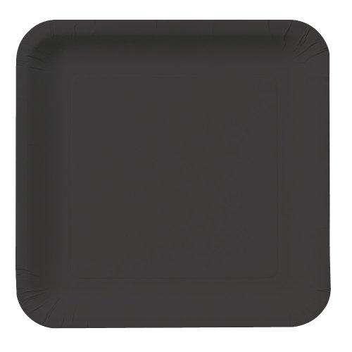 Creative Converting Touch of Color 18 Count Square Paper Dinner Plates, Black Velvet
