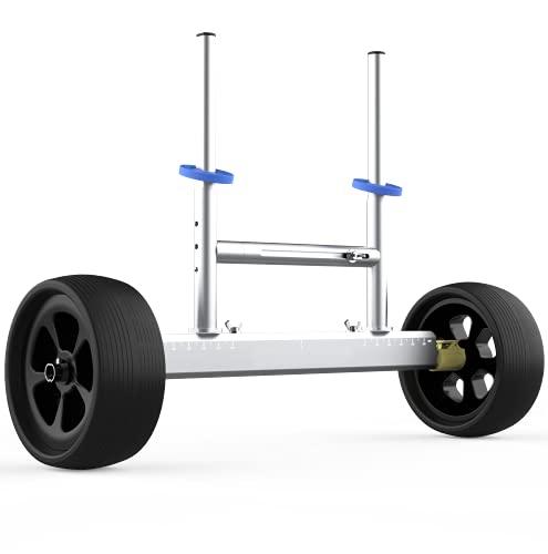ILOKNZI - Carrello kayak in alluminio leggero e rimovibile in larghezza e altezza regolabile con ruote non larghe, adatto per kayak e canoa con fori