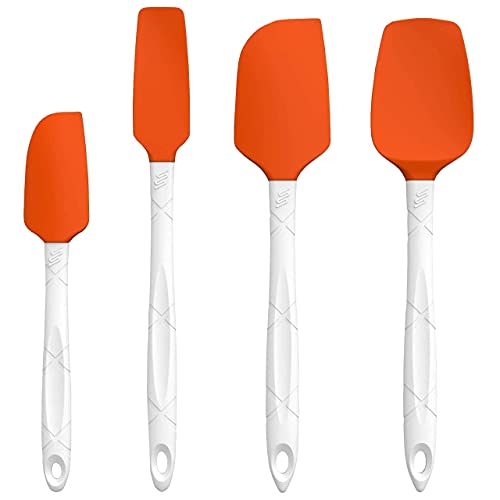 M KITCHEN WORLD Silicone Spatula Set - 4 Piece Rubber Heat Resistant Spatulas for Cooking, Baking & Mixing - Cookware Kitchen Utensils - Orange
