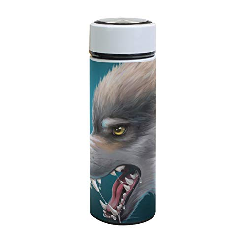 XiangHeFu Houdt koude of warme thermosfles, roestvrij staal, reisbeker, karikatuur, hongerige wolf-waterflessen, lekvrij.