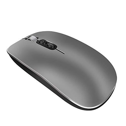 Mouse wireless Bluetooth, ricaricabile, silenzioso, ultra sottile in lega di alluminio, mouse DPI regolabile, pulsante di ritorno sul desktop, con usato per giochi a casa e ufficio
