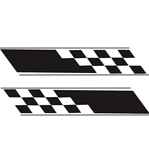WSFANG Sticker de Carro 2pcs Vinyl Car Racing Hood Plaid Puerta Lateral Fender Stripes Decal Pegatinas DIY Film para Compatible con Auto Truck SUV Accessories Negro 130x24cm para carros