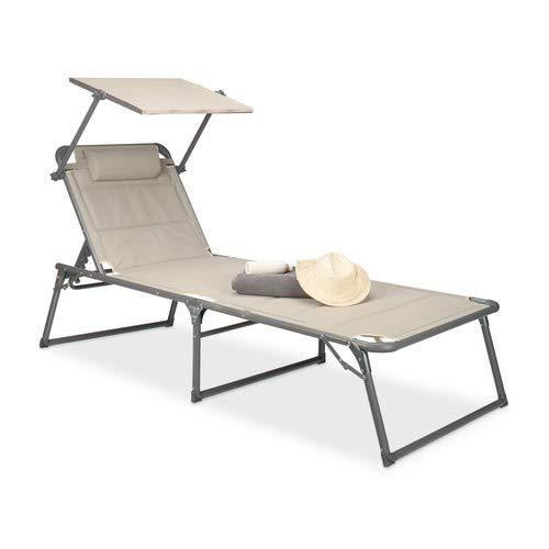 Relaxdays Lettino Pieghevole da Spiaggia, con Tettuccio, Parasole, HLP: 37 x 70 x 200 cm, Beige, 200x70x111 cm