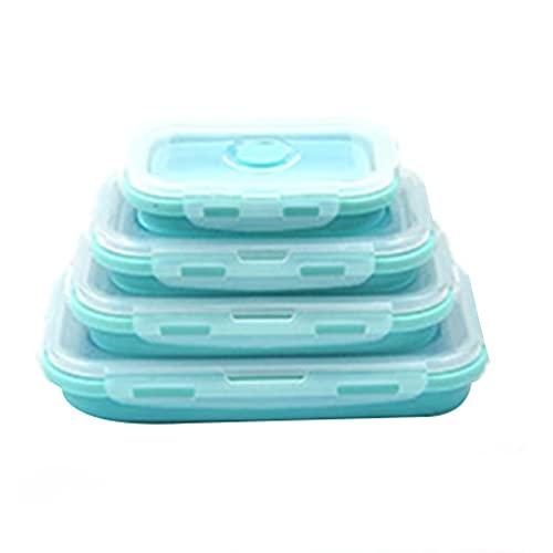 KU Syang 4 Piezas Conjunto Caja de Almuerzo Plegable Silicona para Alimentos Caja de Comida de Almacenamiento de Ensalada de Frutas Contenedor de Vajilla Convenientemente Caja de Almuerzo