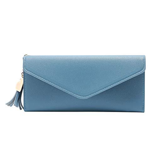 Xchenda Women RFID Blocking Wallet Long Handbag Large Capacity Leather Tassel Purse Clutches Bifold Multi Card Holder Organizer Phone Bag