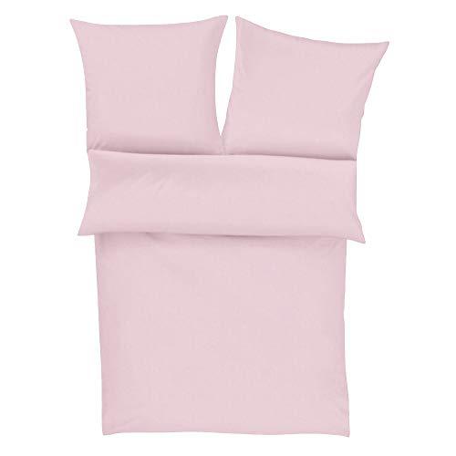 Zeitgeist Flanell Bettwäsche 135x200 cm - einfarbige Biberbettwäsche rosa, 100% Baumwolle kuschelig weich und angenehm warm, Set aus Bettbezug 135x200 und Kissen 80x80cm, praktischer Reißverschluss