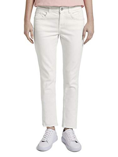TOM TAILOR Damen Jeanshosen Nena & Larissa: Alexa Slim Jeans in Ankle-Länge Whisper White,34/32