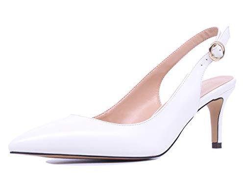 CASTAMERE Scarpe col Tacco Donna Gattino Cinturino Regolabile Tacco a Spillo Sandali 6.5CM Bianco Pu Scarpe EU 40