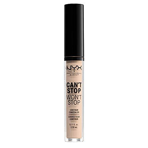 NYX Professional Makeup Correttore Can t Stop Won t Stop, Correttore Viso Liquido, Adatto a Tutti gli Incarnati, Alabastro, Confezione da 1