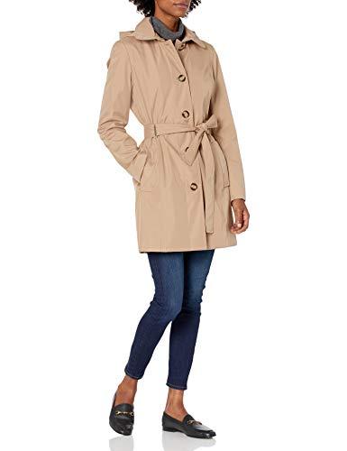 Calvin Klein Damen womens button front trench coat with belt Trenchcoat, Khk, Medium