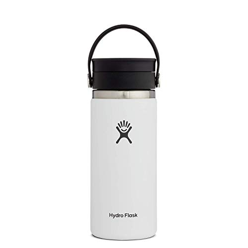 Hydro Flask Termo de café de viaje de 473ml (16 oz), acero inoxidable y doble pared al vacío, boca ancha con tapa Flex Sip™ hermética, White