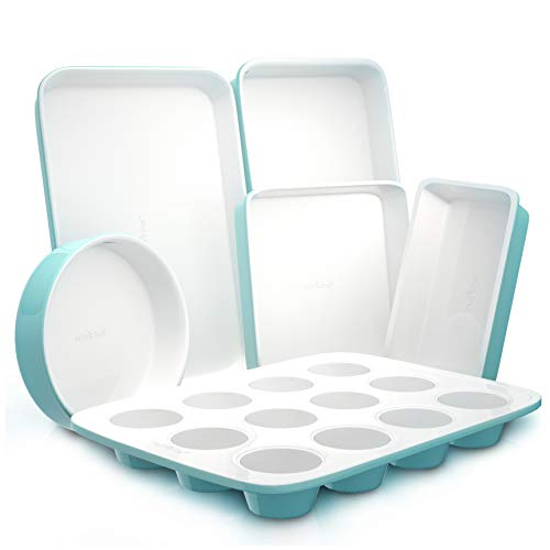 Nutrichef 6-Pcs Kitchen Oven Baking Pans Non-Stick Sheets Set, Attractive Green Pans & White Inside, Quality Kitchenware for Cooking & Baking Cake