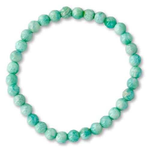 Taddart Minerals – Pulsera verde claro de la piedra preciosa natural Amazonita con bolas de 6 mm en hilo elástico de nailon – hecha a mano