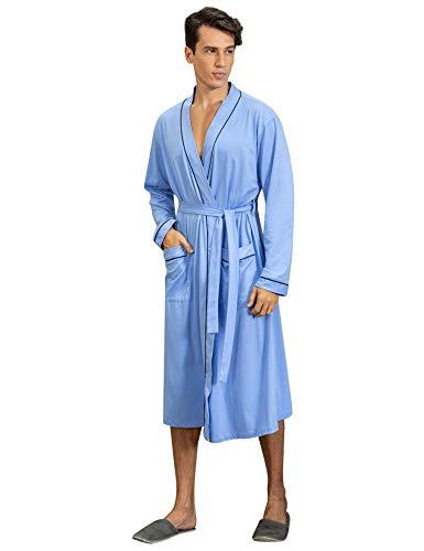 Sykooria Albornoz para Hombre, Bata de algodón de Punto Ligero, Manga Larga, Estilo Kimono, Ideal para Gimnasio Ducha SPA Hotel Robe