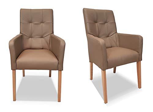 Silla de comedor de piel auténtica con respaldo alto de piel auténtica de moca, modelo David Arm Pik, silla de piel con reposabrazos, silla de comedor