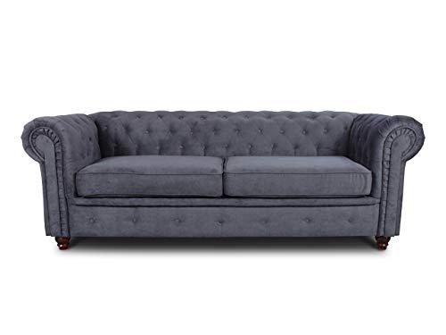 Sofa Chesterfield Asti 3-Sitzer, Couch 3-er, Glamour Design, Couchgarnitur, Sofagarnitur, Holzfüße, Polstersofa - Wohnzimmer (Graphit (Capri 16))
