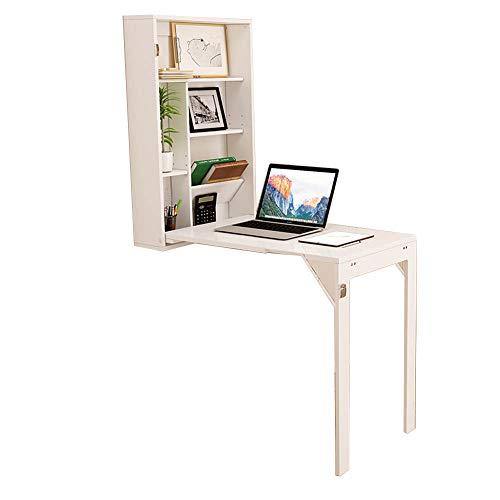 Tafel HUO, multifunctionele klaptafel met plank, wandbehang, massief houten eettafel, wit, 148,8 x 90 cm